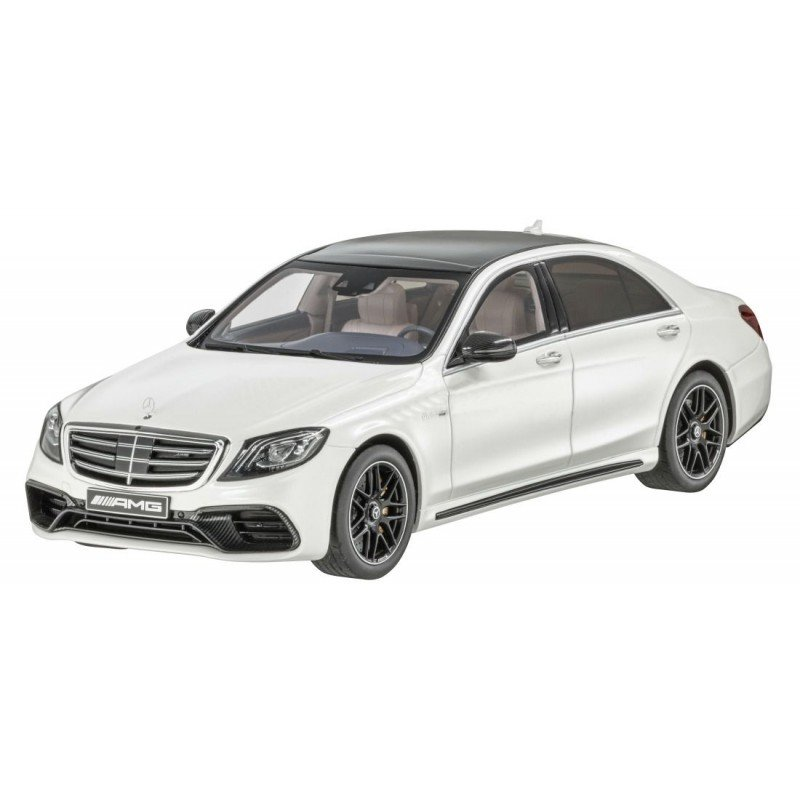 Модель Mercedes-AMG S 63 long-wheelbase, Designo Diamond White Bright, 1:18 Scale